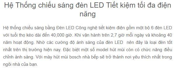Đèn Led siêu sáng của Máy hút mùi Bosch DWB97JP50